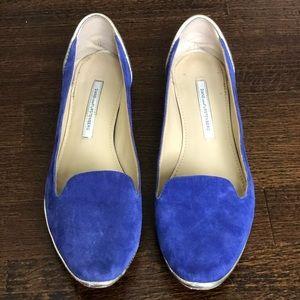 Diane Von Furstenburg cobalt blue suede loafers